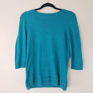 Christoper & Banks Sweater Teal Sz S 3/4 Sleeve G4